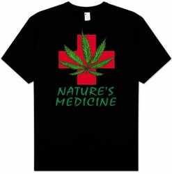 NATURE'S MEDICINE Funny Pot Weed Marijuana Smoking Adult T-shirt