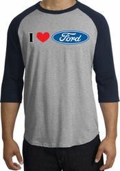 Ford Raglan Shirts - I Love Ford Logo Adult T-Shirts