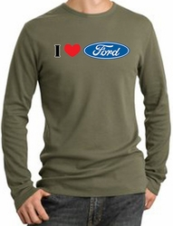 Ford Long Sleeve Thermals - I Love Ford Logo Adult Shirts