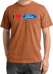 Ford Pigment Dyed T-Shirts - I Love Ford Logo Adult Tee Shirts