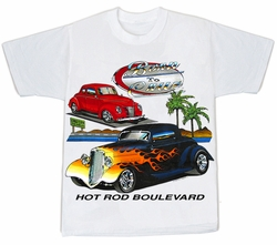Ford Hot Rod Boulevard Classic Car Adult T-shirt