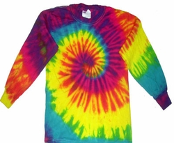 Reactive Rainbow Tie Dye Shirt Groovy Long Sleeve Kids Tee