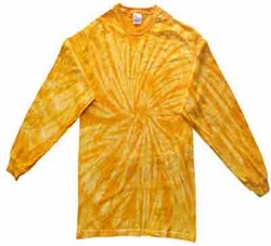 Tie Dye Long Sleeve Shirt Spider Gold Kids Tee