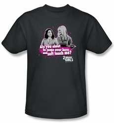 2 Broke Girls T-shirt TV Show Soft Touch Adult Charcoal Tee Shirt