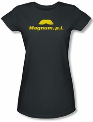 Magnum PI Juniors T-shirt The Stache Charcoal Tee Shirt