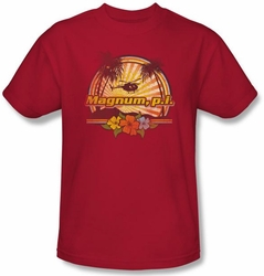 Magnum PI T-shirt Hawaiian Sunset Classic Adult Red Tee Shirt