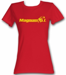 Magnum PI Juniors T-shirt Beach Logo Classic Red Tee Shirt