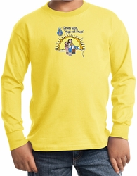 Agianst Drugs Kids Long Sleeve Shirt - Hugs Not Drugs Youth Shirt