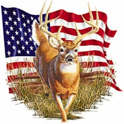 Deer T-Shirt - American Flag T-shirt USA Patriotic Adult Tee