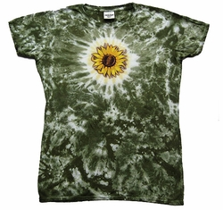 Ladies Sunflower Fitted Juniors Shirt - Tye Dye