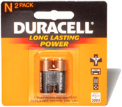 Image of N / LR1 Batteries - HP-18C, HP-19BII, HP-28S, HP-41, and Other Calculator Products: Duracell N Battery 2 Pack
