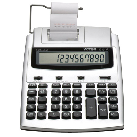 Image of Victor 1210-3A 10-Digit 2.7 LPS AntiMicrobial Portable Printing Calculator