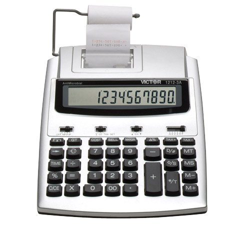 Image of Victor 1212-3A 12-Digit 2.7 LPS AntiMicrobial Portable Printing Calculator