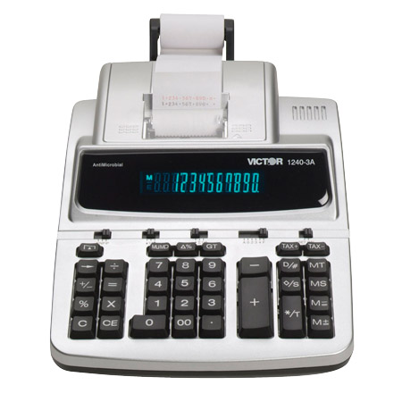 Image of Victor 1240-3A 12-Digit 4.3 LPS AntiMicrobial Printing Calculator with Fluorescent Display