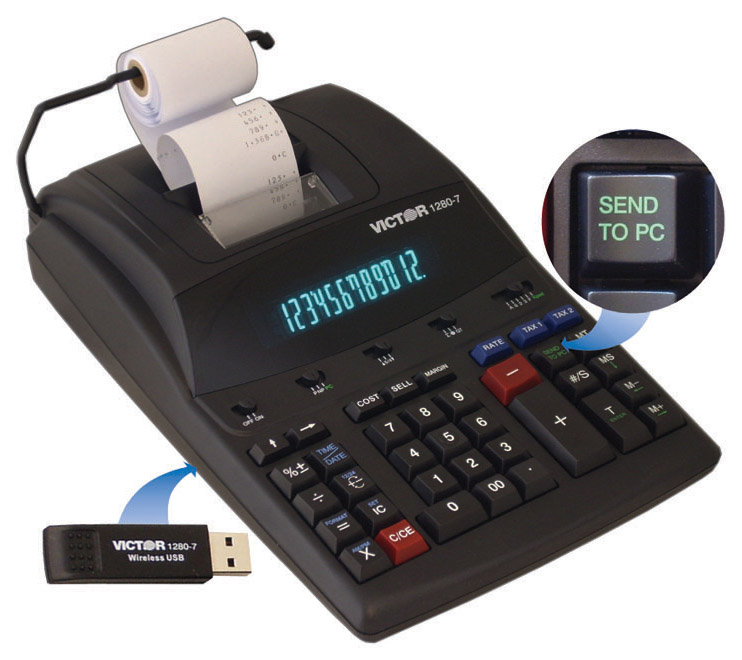 Image of Victor 1280-7 12-Digit 4.1 LPS Printing Calculator with Wireless USB Relay