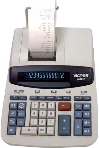 Image of Victor 2640-2 12-Digit 4.6 LPS Commercial Printing Calculator