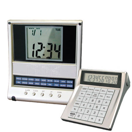 """Image of Victor 600 Stand-Up World Time Clock with 10-Digit Calculator and 2"""" x 2"""" Display"""
