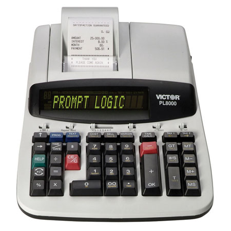 Image of Victor PL8000 Prompt Logic 8.0 LPS Thermal Printing Calculator w/ 2-Color Display