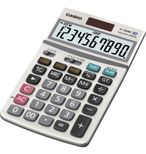 Image of Casio JF-100MS Solar 10 Digit Tax & Currency Exchange Calculator