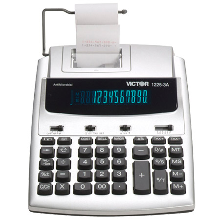 Image of Victor 1225-3A AntiMicrobial 12-Digit 3.0 LPS Desktop Printing Calculator