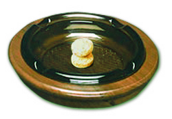 "8"" Glass Ashtray w/ Solid Teak Base"