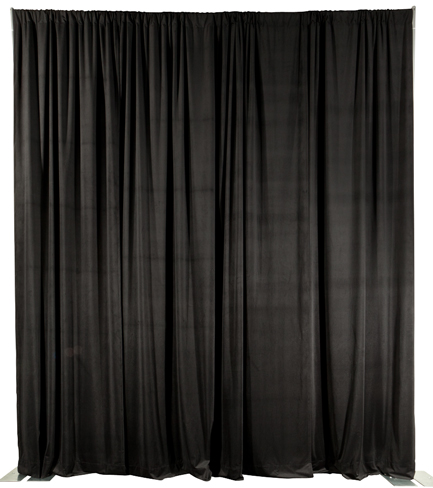 Velour Adjustable Piping Draping / Privacy & Decorative Backwall Curtains