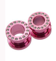 Neon Pink Titanium Cubic Zirconia Screw On (6 Gauge) Tunnel -Fashion Ear Plug