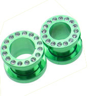 Neon Green Titanium Cubic Zirconia Screw On (6 Gauge) Tunnel -Fashion Ear Plug