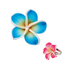 Hawaiian Flower Ring - Flower Petal Ring (Blue)