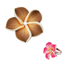 Hawaiian Flower Ring - Flower Petal Ring (Brown)