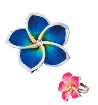 Hawaiian Flower Ring - Flower Petal Ring (Dark Blue)
