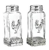 Ganz Glass and Steel Rooster Salt and Pepper Shakers-Rooster