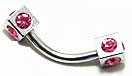 Body Jewelry - Steel Pink Rhinestone Cubed Eyebrow Bar (18g) - Curved Barbell (1pc)