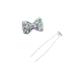Diamond Bowtie Hair Pin - Elegant Bowtie Hair Pin (White)
