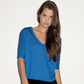 Bella Ladies' Flowy V-Neck Cropped T-Shirt