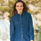 Harriton Ladies' Long-Sleeve Denim Shirt