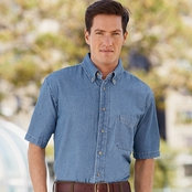 Harriton Short-Sleeve Denim Shirt
