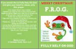 special  Jumbo Merry Christmas F.R.O.G. Fully Rely On God Maze Puzzle Bible Tract