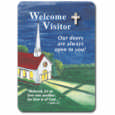English or Spanish Welcome Visitor Mini-Gold Plated Cross Lapel Pin