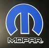 MOPAR Omega M Die-Cut Decal, Blue on White