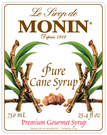 Monin Pure Cane Sugar Syrup 750ml