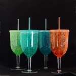 Freezable Insulated Acrylic Wine Glasses with Lids - Set/4