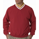 UltraClub Men's Windshirt: Long-Sleeve Microfiber Cross-Over V-Neck (8926)