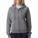Bella Women's Sweatshirt: 100% Cotton Fleece Raglan Hooded (7007)