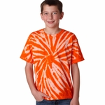 Gildan Youth T-Shirt: 100% Cotton Tie-Dyes Contrast Dye Pinwheel (92B)