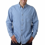 UltraClub Men's Denim Shirt: 100% Cotton Long-Sleeve Cypress Pocket (8960)