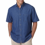 UltraClub Men's Denim Shirt: 100% Cotton Short-Sleeve Cypress Pocket (8965)