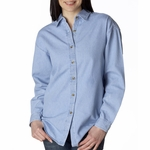 UltraClub Women's Denim Shirt: 100% Cotton Long-Sleeve Cypress (8966)