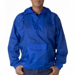 UltraClub Men's Jacket: 1/4-Zip Hooded Pack-Away Pullover (8925)