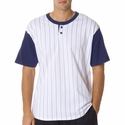 Badger Sport Men's T-Shirt: 100% Cotton Pinstripe Henley (7918)